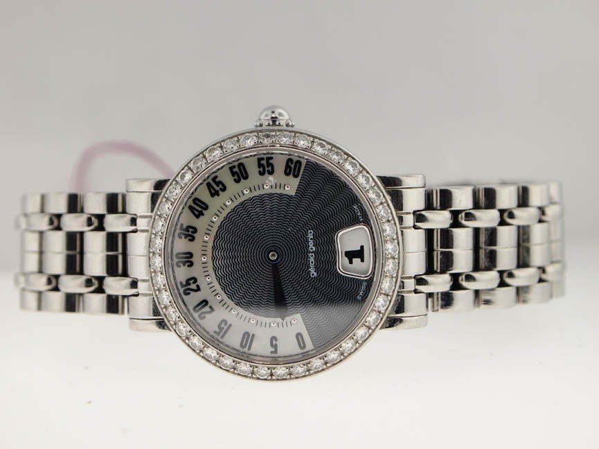 9: Gerald Genta Ladies Stainless Steel Diamond Watch.