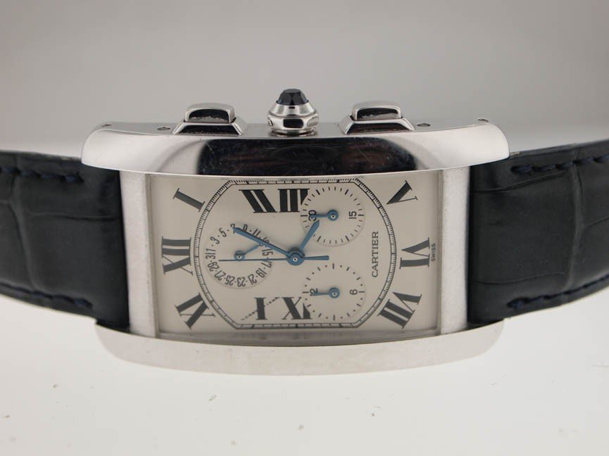 10: Cartier Mens 18K White Gold Tank Americaine Chronog