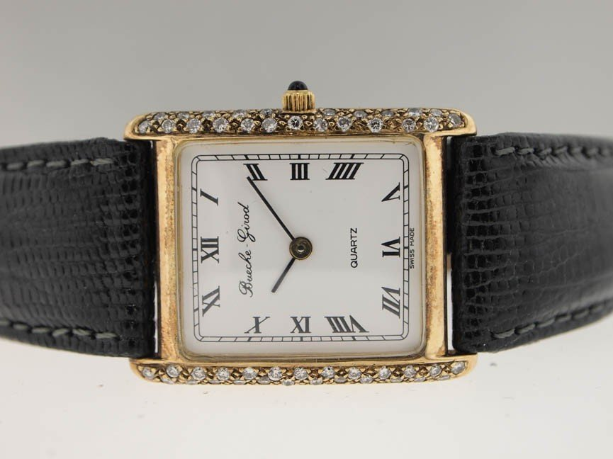 11: Bueche Girod Mens 14k Gold Watch. Diamonds.