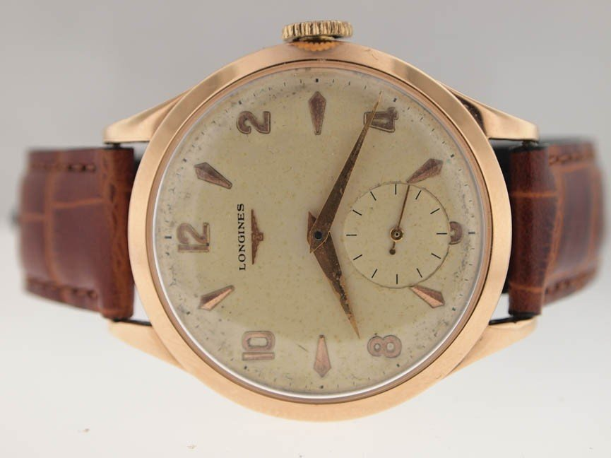13: Longines Mens Rose Gold Vintage Watch.