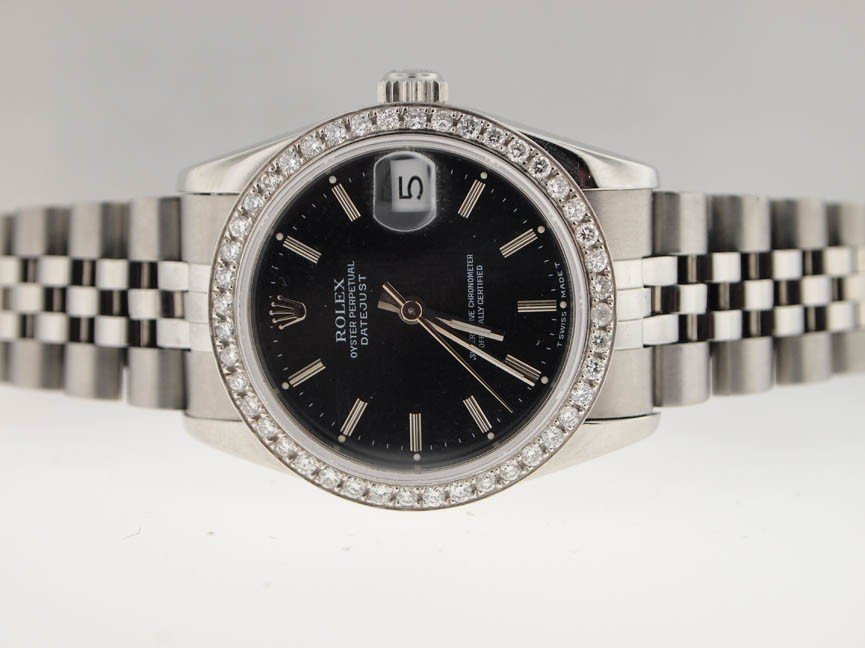14: Rolex Midsize SS Datejust. BOX/PAPERS. Diamond Beze