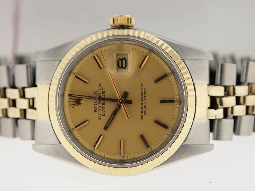 21: Rolex Mens 14k and SS Datejust. Vintage.