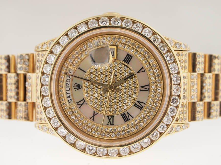 38: Rolex Mens 18k President. Super President Diamonds.