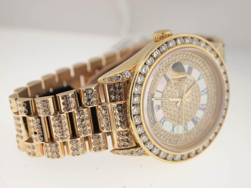 38: Rolex Mens 18k President. Super President Diamonds. - 3
