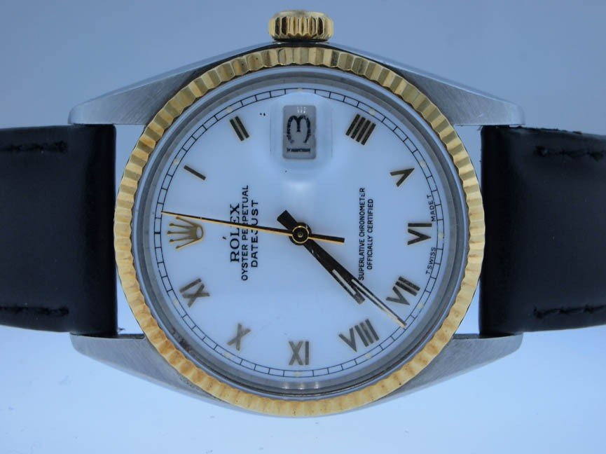 117: Rolex Mens 18k and Stainless Steel Datejust. Roman