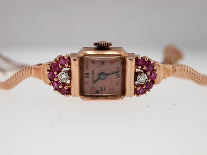 5: Kingston Ladies 14k Ruby Diamond Art Deco.