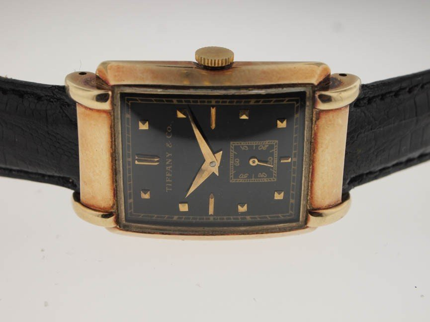 7: Tiffany & Co Mens 14k Vintage Watch. Circa 1940s.