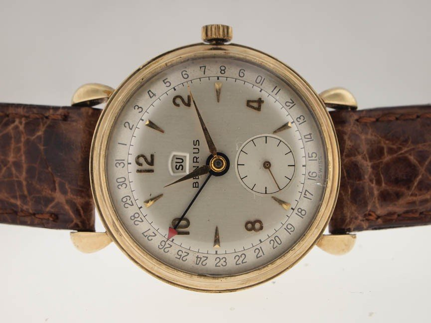 20: Benrus Mens Gold Filled Day-Date. Circa 1940s.