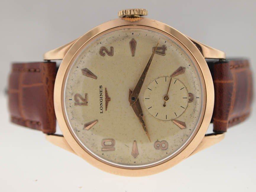 23: Longines Mens Rose Gold Vintage Watch.