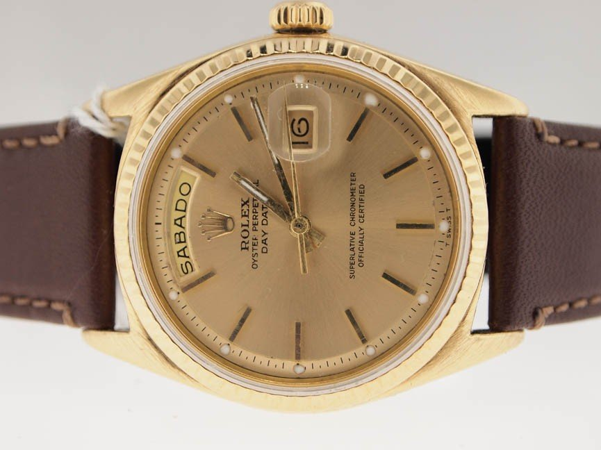 30: Rolex Mens 18k President with Leather Strap.