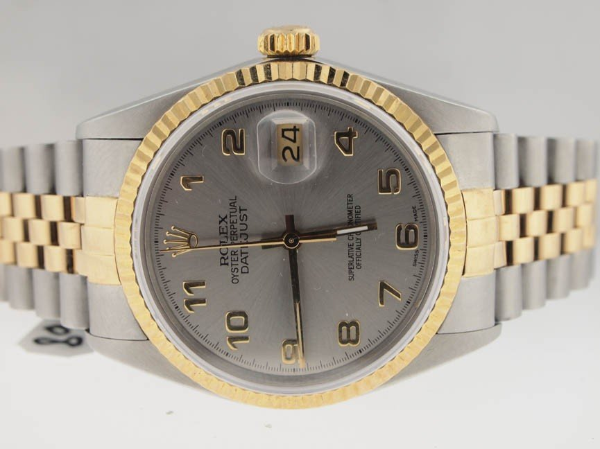 5: Rolex Mens 18k and SS Datejust. Arabic Numeral.