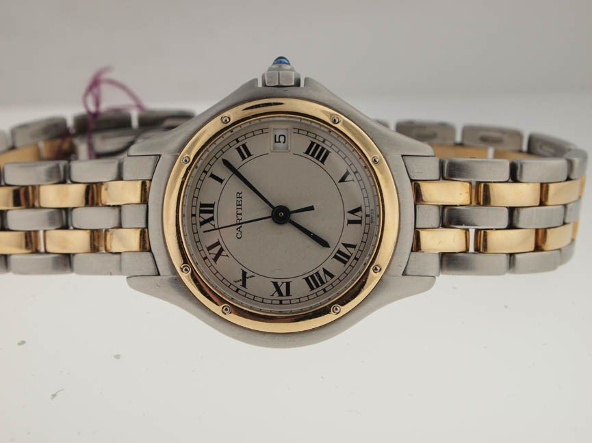 25: Cartier Ladies 18k and SS Cougar. 2 Rows.