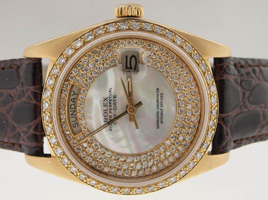 33: Rolex Mens 18k Gold President. Diamond Dial/Bezel.