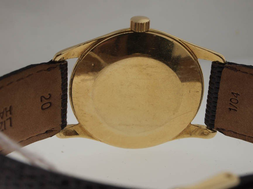 62: Ebel Mens 14k Gold Vintage Watch. Leather Strap. - 3