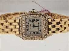 130 Cartier Ladies 18k Gold Panthere Diamonds