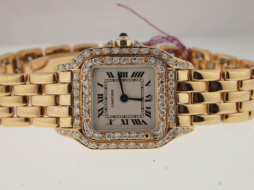 130: Cartier Ladies 18k Gold Panthere. Diamonds.