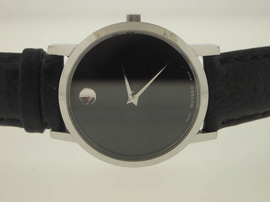 7: Movado Mens SS with Leather Strap.