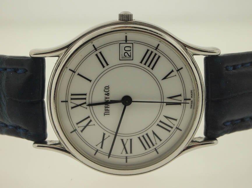 82: Tiffany & Co Mens SS Roman Numeral Watch.