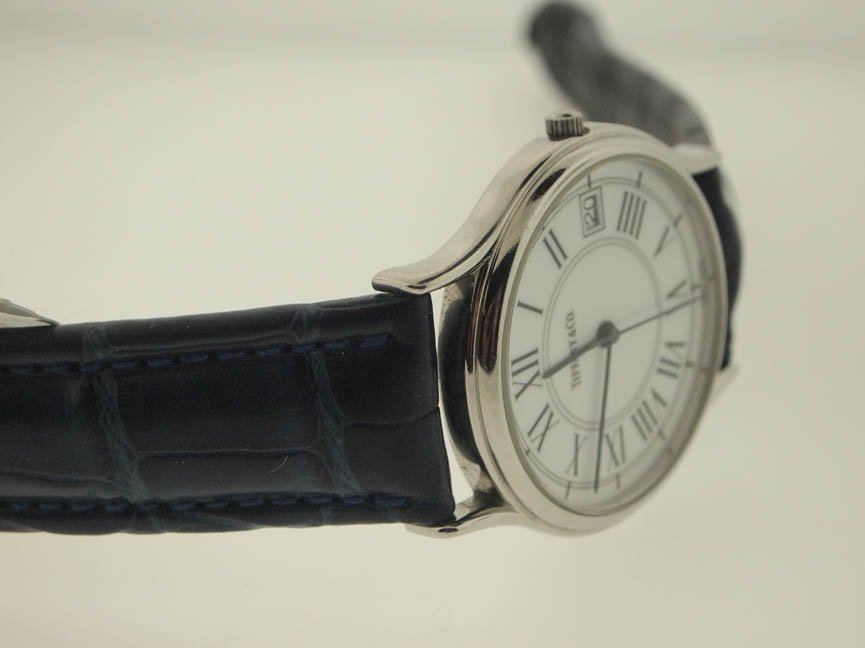 82: Tiffany & Co Mens SS Roman Numeral Watch. - 2
