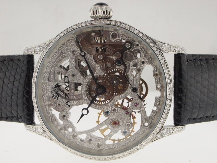9: Azad Mens SS Diamond Skeleton Watch.