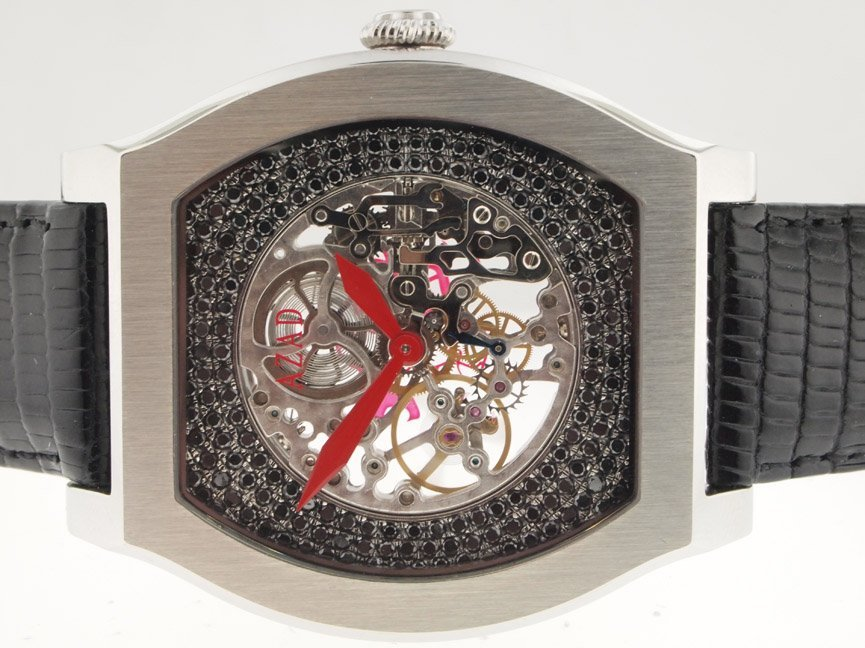 12: Azad Mens SS Skeleton Diamond Watch.