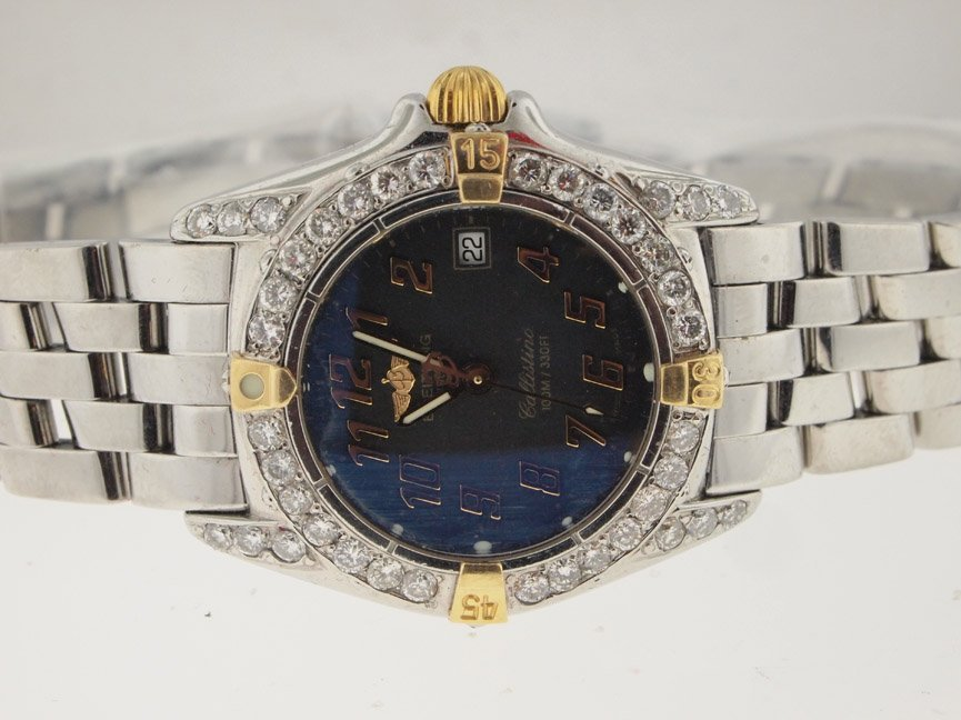 15: Breitling Ladies 18k and SS Callistino. Diamond Bez