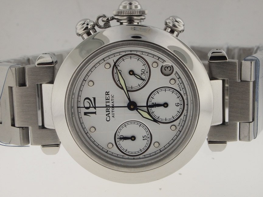 56: Cartier SS Pasha Chronograph 35MM Automatic.