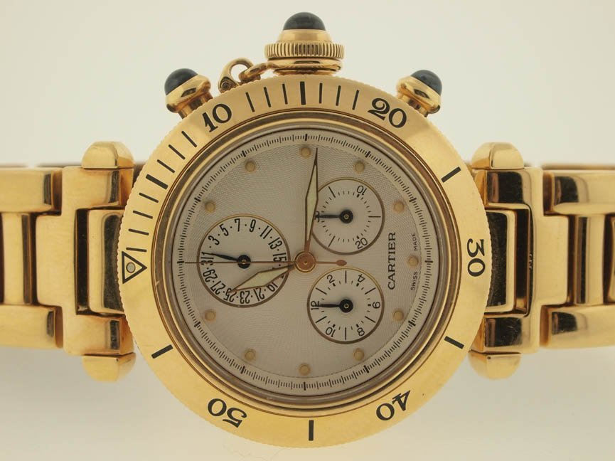 57: Cartier Mens 18k Gold Pasha Chronograph.