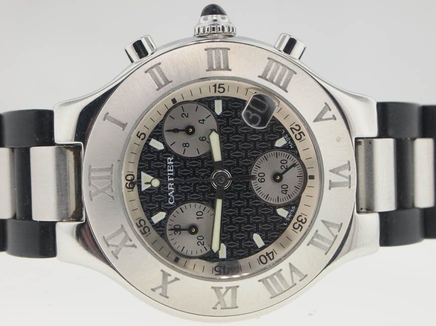 Cartier Mens SS and Rubber Chronoscaph Chronograph.