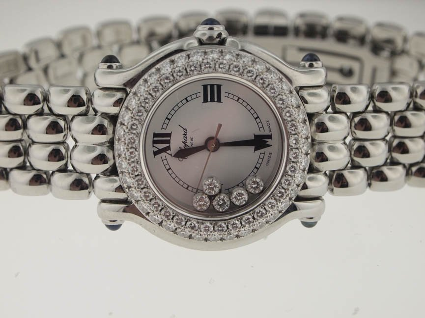 71: Chopard Ladies Happy Sport Diamond Watch.