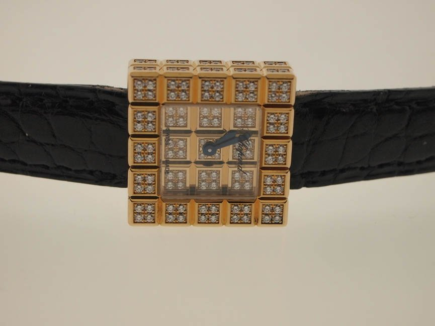 72: Chopard Ladies 18k Gold Ice Cube Diamond Watch.Box/