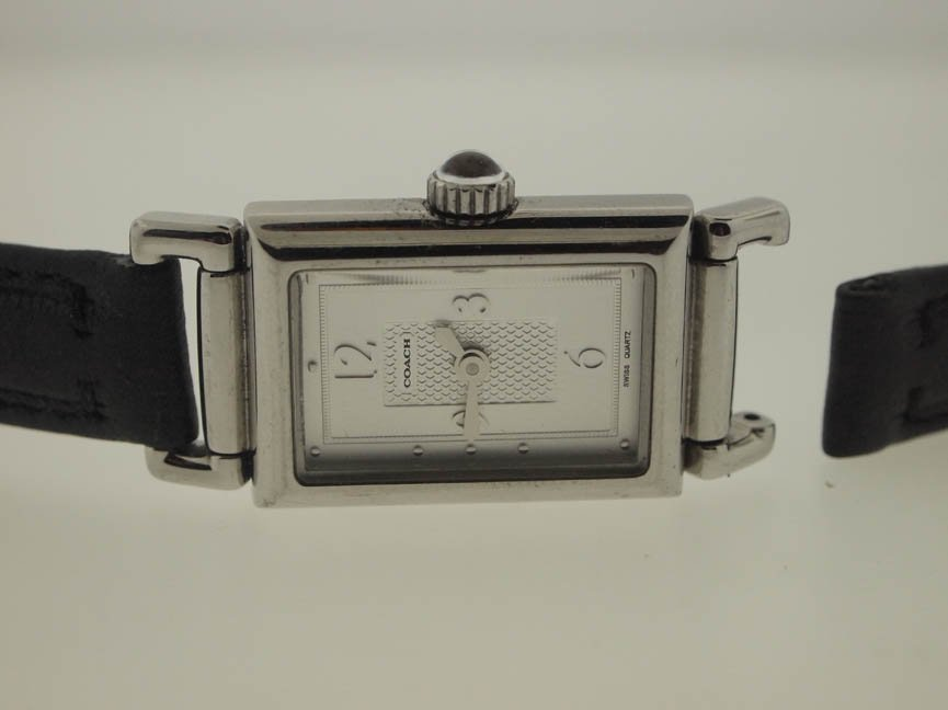 75: Coach Ladies SS Watch on Leather Strap.