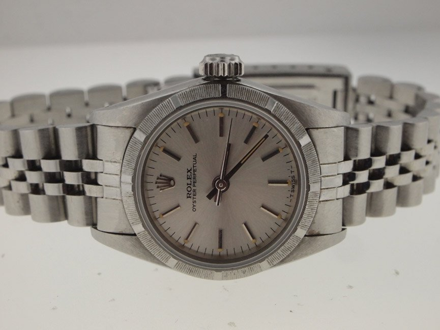 143: Rolex Ladies SS Oyster Perpetual. Sapphire Crystal