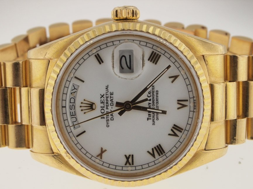 174: Rolex Mens 18k Gold President Quickset.