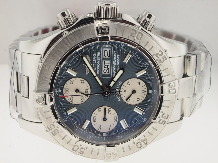 9: Breitling Mens SS Superocean Chronograph. PAPERS.