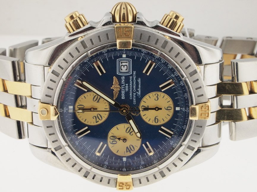 14: Breitling Mens 18k and SS Evolution Chronograph. PA