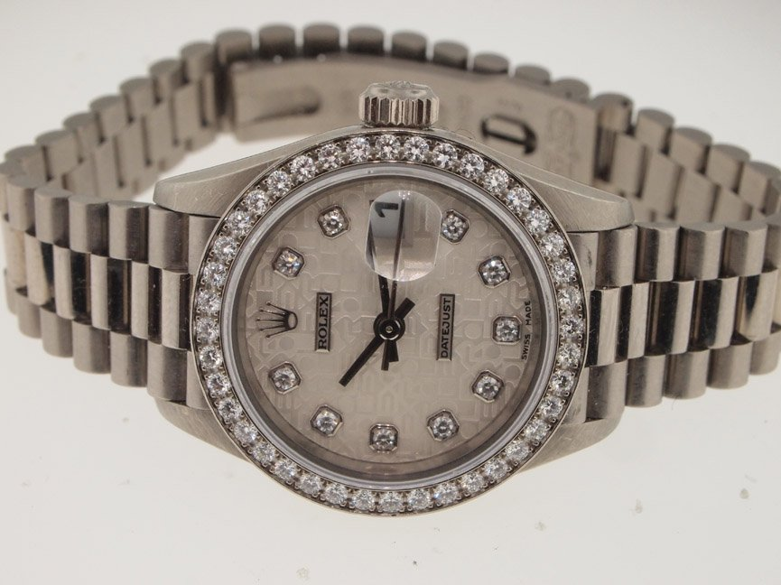 142: Rolex Ladies 18k White Gold President. All Origina