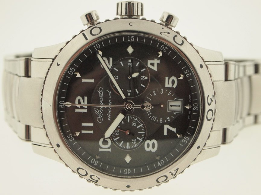 Breguet Mens SS Type XXI Chrono. Box and Papers.