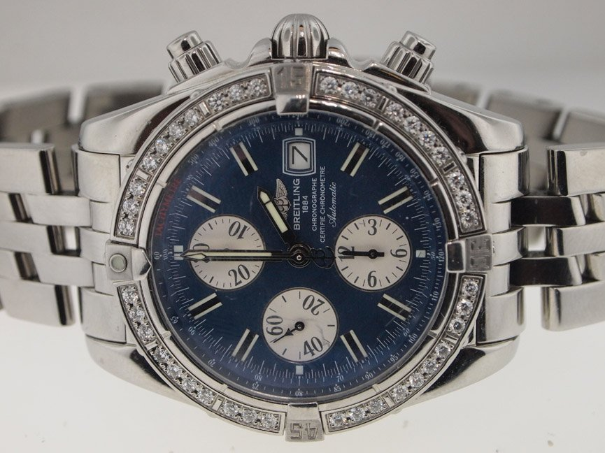 Breitling Mens SS Evolution. Original Diamond Bezel.