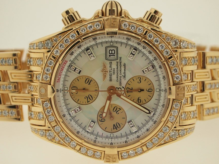 Breitling Mens 18k Evolution ALL ORIGINAL DIAMONDS.$90K