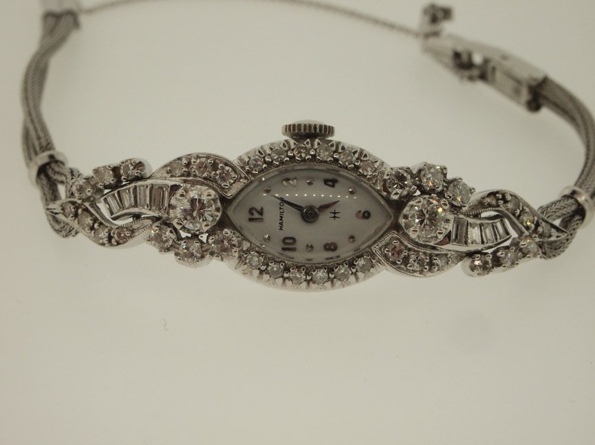 Hamilton Ladies 14k Vintage Diamond Watch. 48 Diamonds.