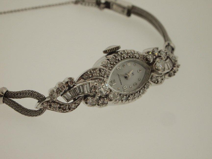 Hamilton Ladies 14k Vintage Diamond Watch. 48 Diamonds. - 3