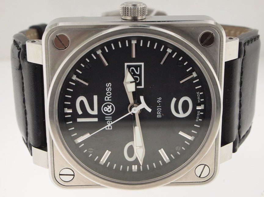 Bell & Ross Mens SS Big Date Automatic. BOX/PAPERS.