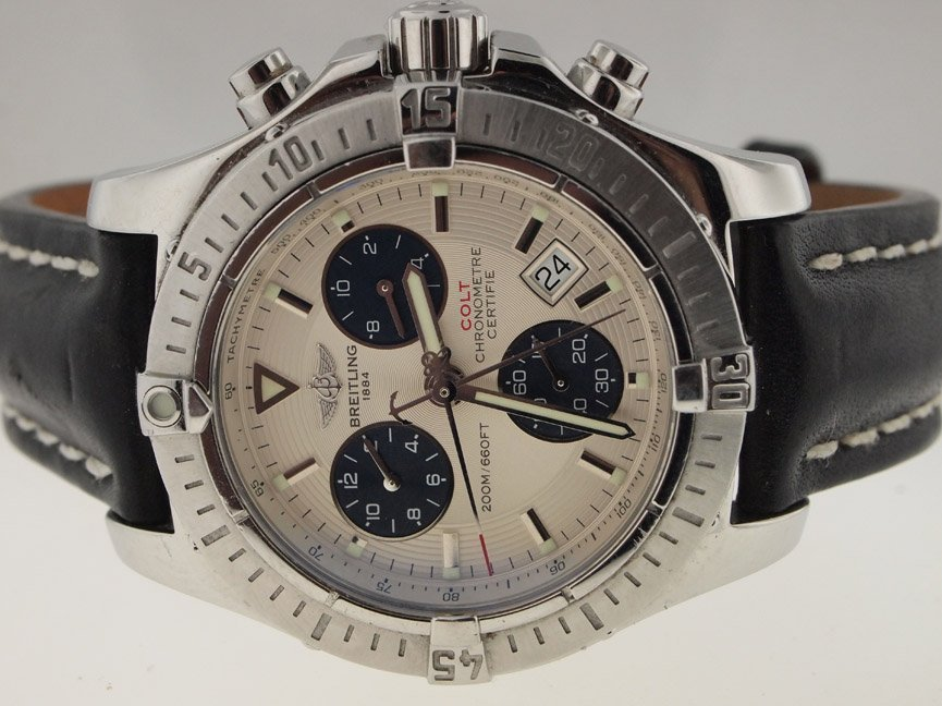 Breitling Mens SS Colt Chronograph. PAPERS.