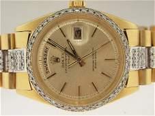 196: Rolex Mens 18k Gold Super President Diamonds