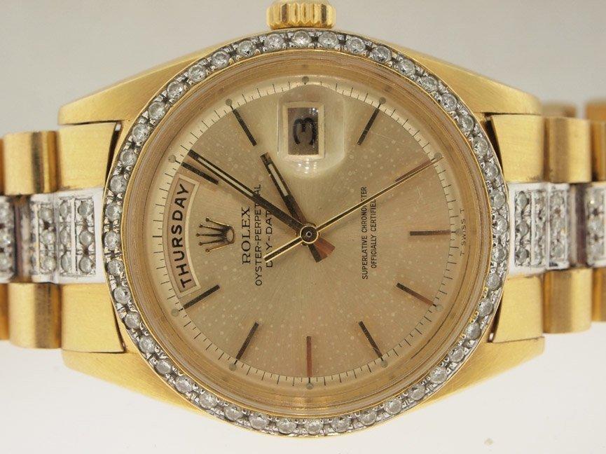 173: Rolex Mens 18k Gold Super President Diamonds