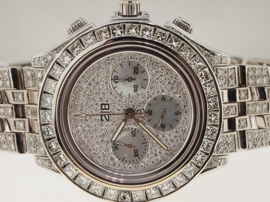 Breitling Mens 18k White Gold DIAMONDS EVERYWHERE Cross