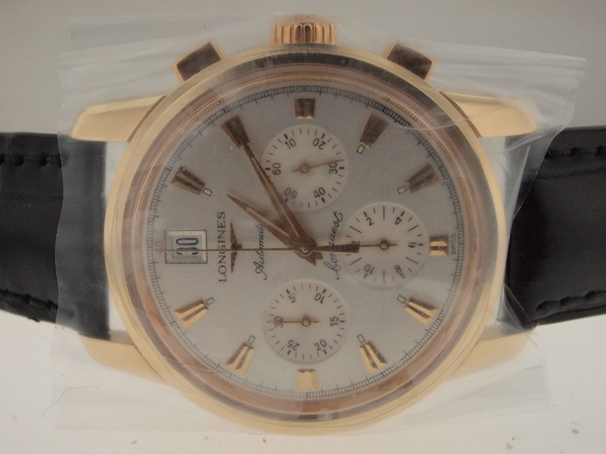 Longines Mens NEW 18k Rose Gold Chronograph. BOX/PAPERS