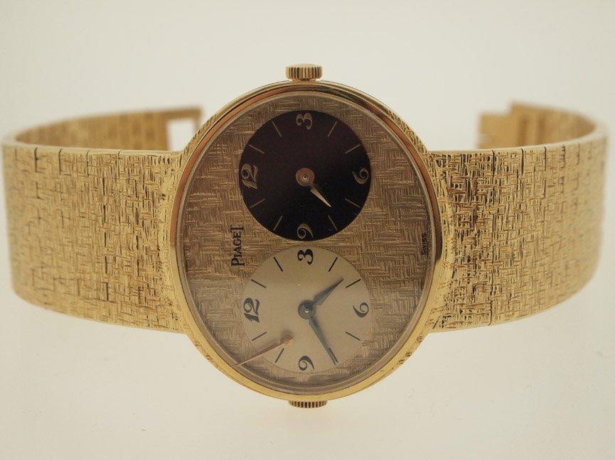 Piaget Mens 18k Gold Vintage Dual Time Zone.