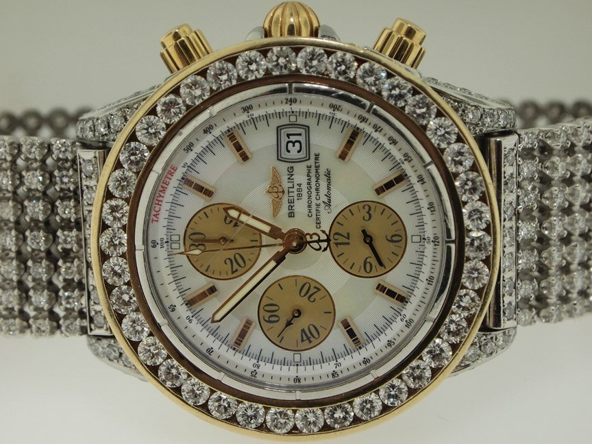 Breitling 18k Gold and SS Chronomat Over 20 Carats of D
